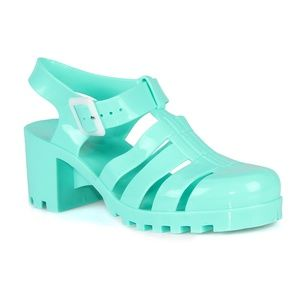 Brash Caged Jelly Block Heels Women's Sandals